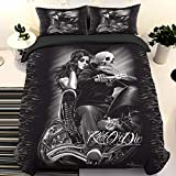Guidear Ride or Die Skull Bedding Set for Adults, 3D Printed Skull Riding with Girls Duvet Cover with 2 Pillowcases,Black Gothic Microfibe Comforter Cover King Size 90' x 103'