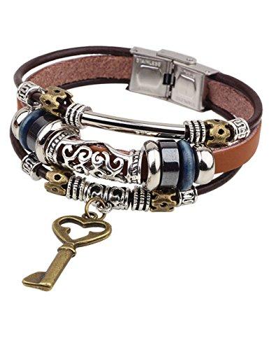 Jigsaw Costume Australia (LNKRE JEWELRY Charms Triple Strand Bali Beads Leather Pendants Bracelets A1)