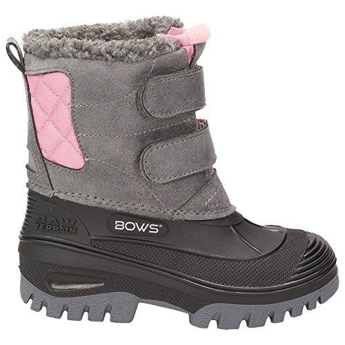 BOWS® -KEKE- Mädchen Kinder Schnee Winter Stiefel Winterboots Schuhe Warmfutter wasserdicht wasserabweisend Grau-Rosa