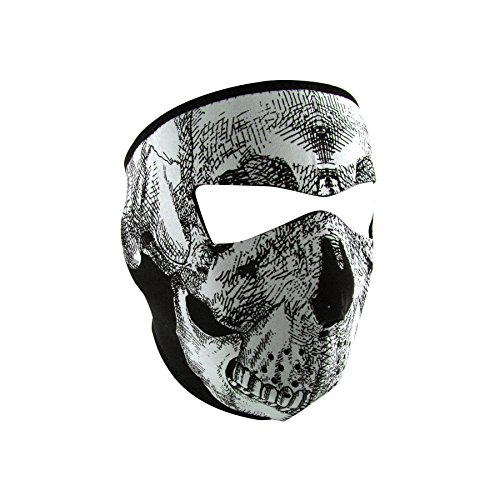 ZANheadgear Neoprene Full Face Mask, Black and White Skull Face, Glow in the Dark -