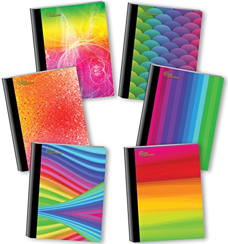 NEW GENERATION - Rainbow - Composition Notebooks, 6 Pack Note Books -Journals, 80 Sheets / 160 Pages with College Ruled White Paper Durable Laminated Covers with Assorted Eye-Catching Cute Designs