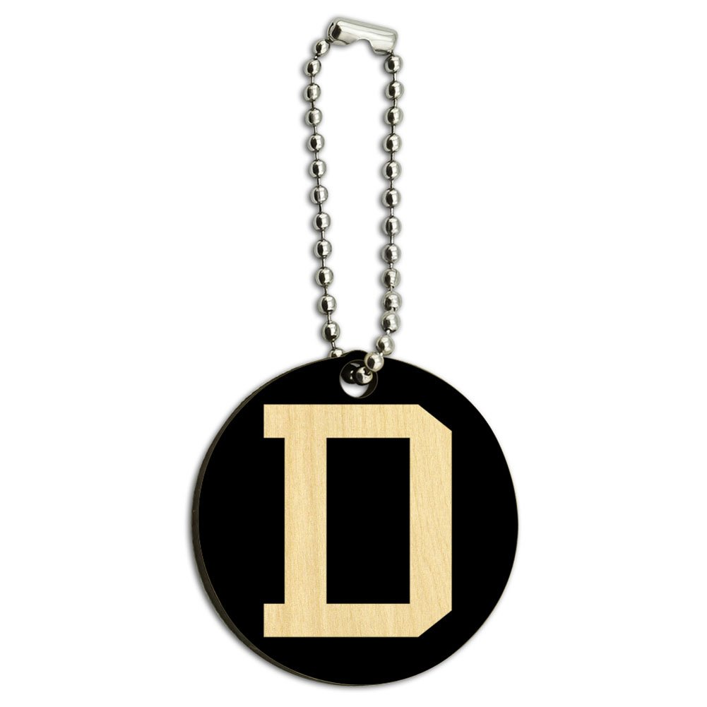 Letter D Initial Black White Wood Wooden Round Key Chain