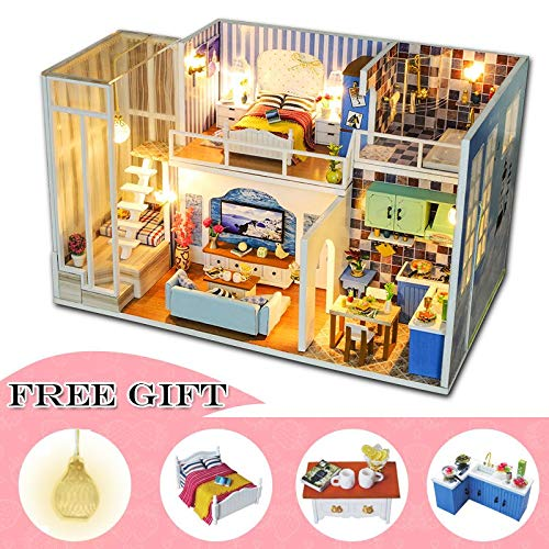 Kiartten Doll House - Doll House Furniture Miniature Dollhouse DIY Miniature House Room Box Theatre Toys for Children Casa De Boneca J18 1 Pcs