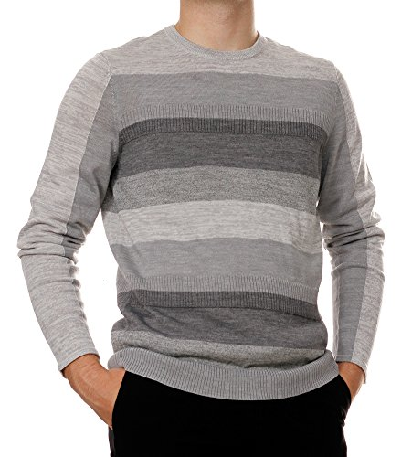 Calvin Klein Men's Merino Ribbed Stripe Crew Neck Sweater, Gray, X-Large
