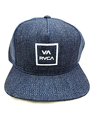 RVCA All The Way Trucker Snapback Hat Denim Blue White DNB
