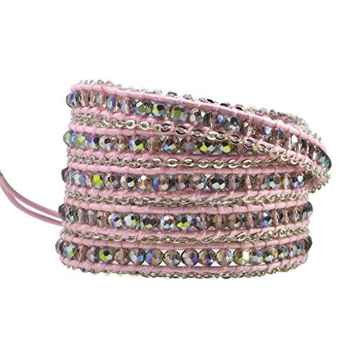 KELITCH Natural Pink Leather Bracelet Mixd Faceted Crystal Beaded Wrap Bracelet for Women Unisex