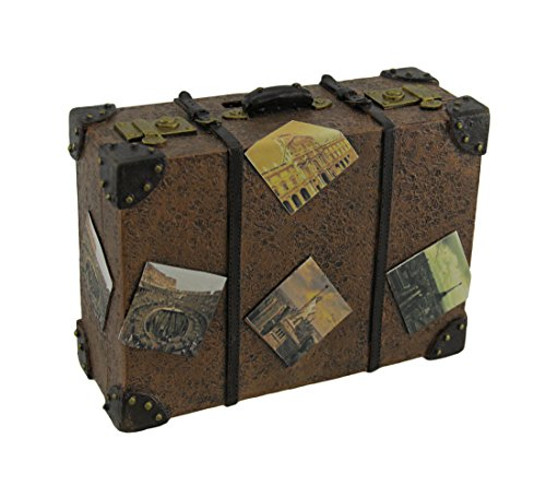 Zeckos Well Traveled Vintage Suitcase Coin - Vintage Coin Bank