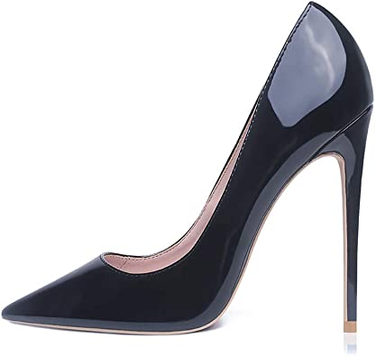 Women Pumps Pointed Toe Patent Leather Stiletto High Heels Nightclub Party Shoes