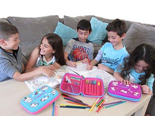 Pencil case for kids, The original brand Kidberry pen case for kids,pencil pouch, girls pencil case, Cute Unicorn 3D Unique design pencil box, comes with a matching Pom Pom key chain in a gift box Photo #8