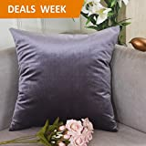"""Home Brilliant Decor Solid Deluxe Square Decorative Accent Throw Pillow Cover for Chair, 18"""" x 18"""", Lilac"""