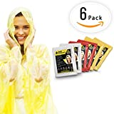 EMERGENCY RAIN PONCHOS- BULK PACK OF 6 FOR ADULTS- Perfect For Any Weather Situation - Best Disposable Waterproof Poncho For Festivals, Disney and Camping - One Size Fits Most Men And Women