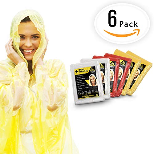 EMERGENCY RAIN PONCHOS- BULK PACK OF 6 FOR ADULTS- Perfect For Any Weather Situation - Best Disposable Waterproof Poncho For Festivals, Disney and Camping - One Size Fits Most Men And Women by Adventurologist
