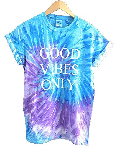 (Good Vibes Only Purple and Blue Tie-Dye Graphic Unisex Tee)