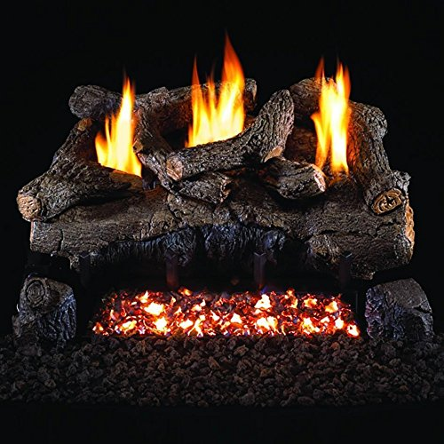 Peterson Real Fyre 30-inch Evening Fyre Log Set With Vent-free Propane Ansi Certified G18 Burner - Electronic Non-standing Pilot And Variable Flame Remote ()