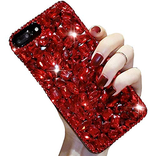 Bling Diamond iPhone XR Case 6.1'',Apple iPhone XR Bling Glitter Clear Crystal Full Diamonds Luxury Sparkle Transparent Rhinestone Protective Phone Case Cover with Bumper for Woman Girls-Red ()