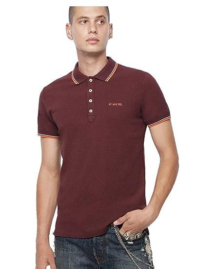 b071d4a6 Diesel Men's T Randy Broken Polo Shirt Plum: Amazon.co.uk: Clothing