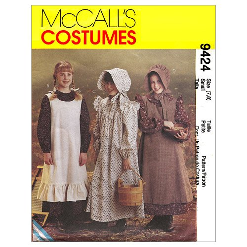 McCall's Patterns M9424 Girls' Pioneer Costumes, Size SML (Pioneer Bonnet Pattern)