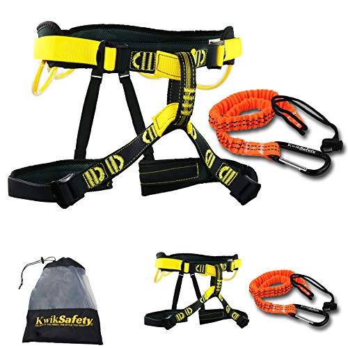 KwikSafety (Charlotte, NC Mandrill (2 Pack) Comfort Climbing Harness (Free Tool Lanyard & Carabiner) Lightweight Padded Adjustable Half Body Waist Belt Heavy Duty 310lb Limit Mountain Rock Arborist