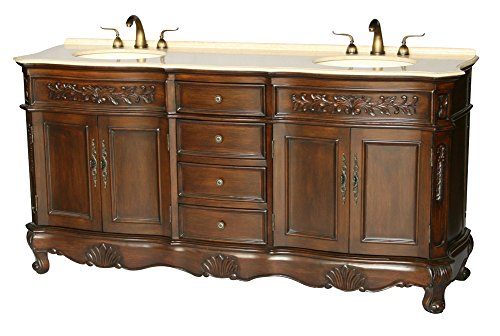 72-Inch Antique Style Double Sink Bathroom Vanity Model 2003-BE by Chinese Arts, Inc