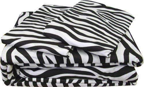 Bed 4 PCs Sheet Set -100% Egyptian Cotton - 400 Thread Count - 22 inch Deep Pocket of Fitted Sheet - Zebra Print, Queen Size. ()
