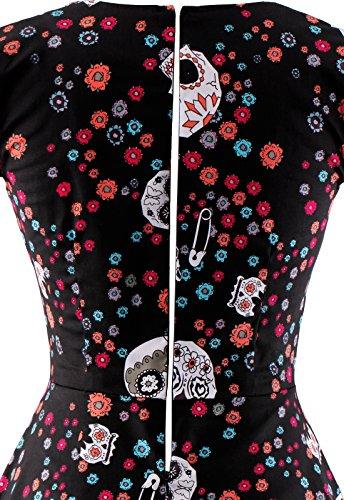 OTEN Women\'s Polka Dot Sugar Skull Vintage Swing Retro Rockabilly ...