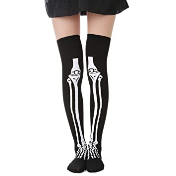 5c8e692b875 Stheanoo Halloween Stocking with Skeleton Bone Pattern Printing Over Knee  Costume High Stockings Socks for Halloween