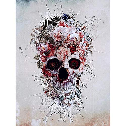 Paint by Numbers for Adults | DIY Art Kit with Acrylic Paints, Brushes, and Canvas for Abstract Art, Painting and Crafts for Beginners and Kids 16X20, Halloween Flower Skull ()