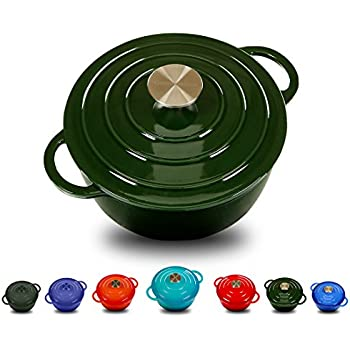 Enameled Cast Iron Dutch Oven With 360 Degree Water-Cycling System, Dual Handles (5.8 Qt, Olive green)