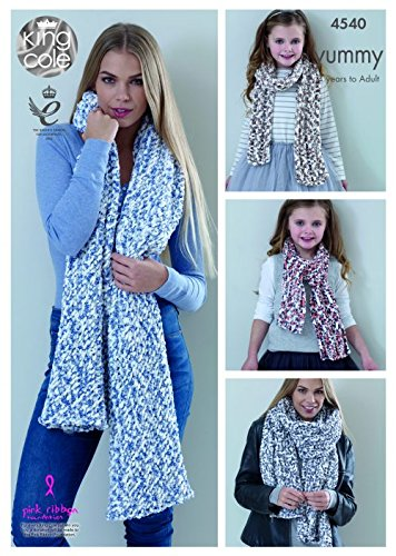 Scarf Shawls Knitting Pattern Womens Winter Accessories King Cole Bamboozle 4390