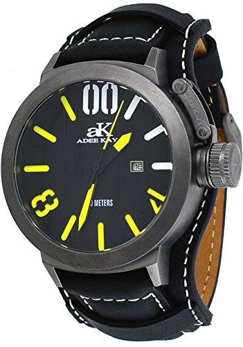 Adee Kaye #AK7285-IP/BK9 Men's Gunmetal Tone Canteen Crown Protector Leather Band Watch