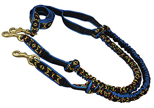 Shock Absorbing Bikejoring Skijoring Bungee Two Dogs Line 1'' Wide 8-Ft Long by Dogs My Love