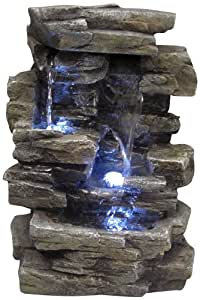 Alpine WIN220 Waterfall Tabletop Fountain with White LED Light