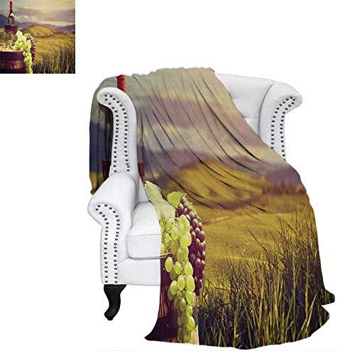 Custom Design Cozy Flannel Blanket Italy Tuscany Landscape Rural Vineyard Autumn Harvest Grapes Drink Viticulture Weave Pattern Blanket 70