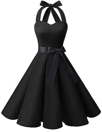 169cd0be95c Bridesmay Women s 1950s Vintage Halter Retro Rockabilly Floral Cocktail  Party Swing Dress Black S