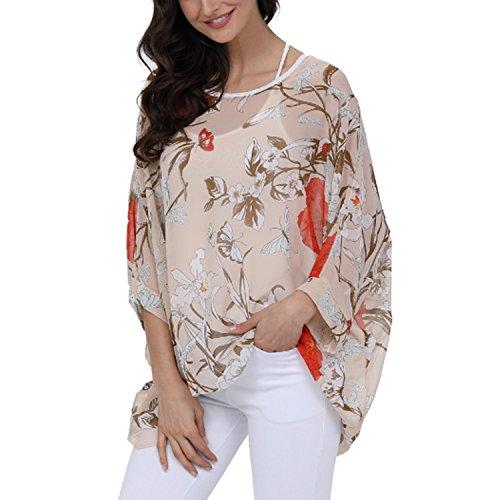 Femme T A57 Soie Tops Blouse Manches 4 Bohme en Chemise Shirt Batwing Hhippie Color Mousseline Hippie 3 de JLTPH qtpEzw1Ux