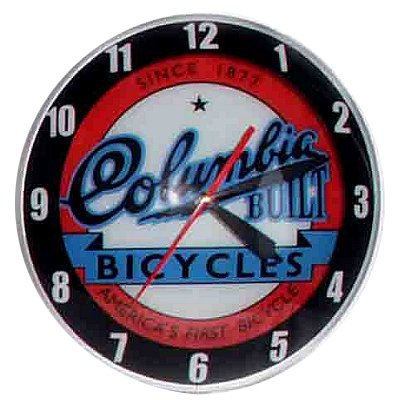 Double Bubble Columbia Bicycle Glass Clock Bicycle Double Bubble Clock