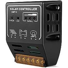 Flexzion Solar Charger Controller 10A PWM Solar Panel Battery Regulator 12V 24V Solar Energy System Smart Overloading and Short-circuit Safe Protection
