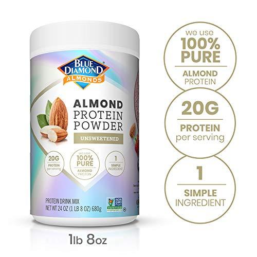 Blue Diamond Almonds Almond Protein Powder, Unsweetened - 20g Protein, Plant Based, Vegan, Gluten Free, Non Dairy, Non-GMO, 100% Pure Almond Protein, 24 Ounce