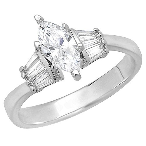 Dazzlingrock Collection 1.25 Carat (ctw) 14K Marquise and Baguette Cubic Zirconia Solitaire with Accents Ladies Engagement Ring, White Gold, Size 7