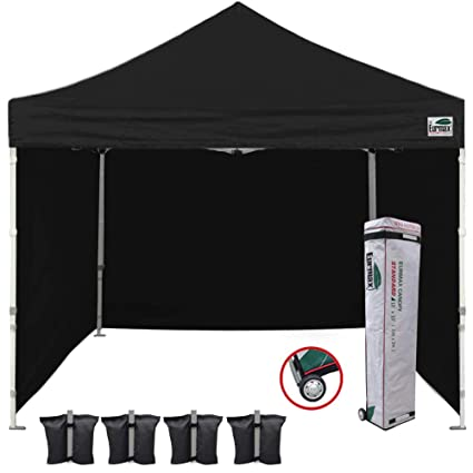 low priced c9cf3 048b5 Eurmax 10'x10' Ez Pop-up Canopy Tent Commercial Instant Tent with 4  Removable Zipper End Side Walls and Roller Bag, Bonus 4 SandBags(Black)