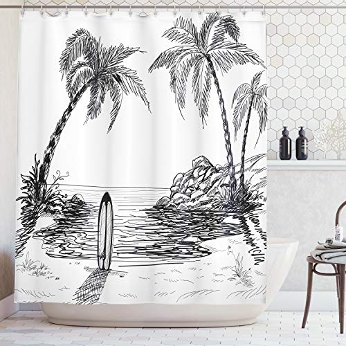 - Ambesonne Coastal Decor Collection, Sandy Beach Bay Caribbean Coastline Exotic Journey Landscape Cloudy Sky Print, Polyester Fabric Bathroom Shower Curtain, Navy Blue Ivory Turquoise
