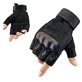 HIVER Half Finger Motorcycle Riding Gloves Racing Biking Driving Motorcycle Gloves – Medium Gloves (Black)