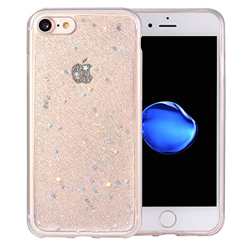 iPhone 7 Case, iPhone 8 Case,BAISRKE Luxury Bling Glitter Sparkle Clear Transparent Soft TPU Bumper Back Cover Case for iPhone 7 & iPhone 8 4.7 inch - - Glitter Transparent