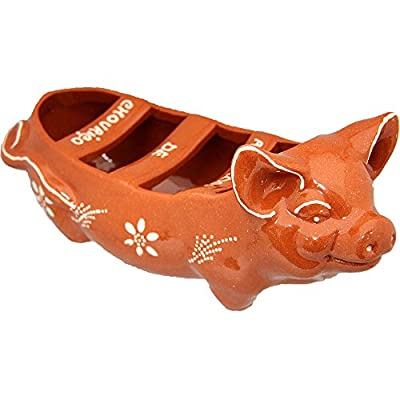 Vintage Portuguese Traditional Clay Terracotta Sausage Roaster Made In Portugal Happy Pig