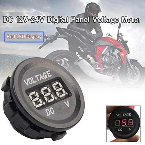 Cacys-Store - Led Display Waterproof Motorcycle Voltmeter Gauge Voltage Meter Led Digital Auto Battery Real Time Volt Monitor 12V-24V New