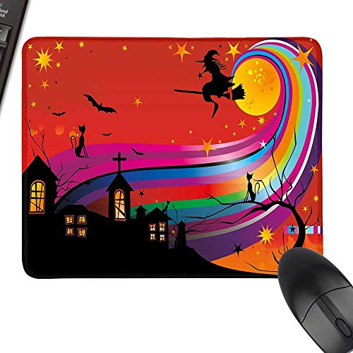 Halloween Rectangle Mouse Pads Witch Woman on Broomstick Bats Cat Stars Rainbow Moon Castle Abstract Colorful with Stitched Edges 11.8