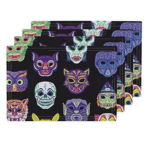 Scary Masks 4pc Organic Cotton Sateen Cloth Placemat Set - Clown Vampire Cat Witch Owl Halloween Vintage Retro Masks Creepy Costume Monster by Pinkowlet (Set of 4) 13 x 19in