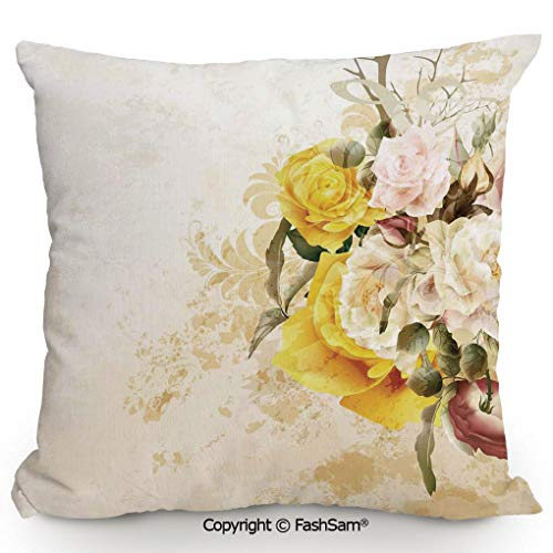 Home Super Soft Throw Pillow Flower Bouquet Flourishing Rose Petals Botany Shabby Chic Design for Sofa Couch or Bed(24