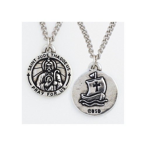 St. Jude Thaddeus Pewter Medal, 24 inch chain