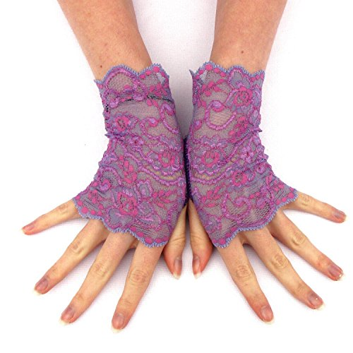 Purple Floral Lace Fingerless Gloves prom wedding fashion (Curvy Halloween Costumes)